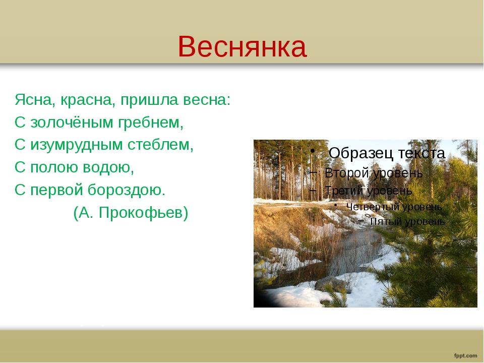Веснянка Ясна, красна, пришла весна: С золочёным гребнем, С изумрудным стебле...