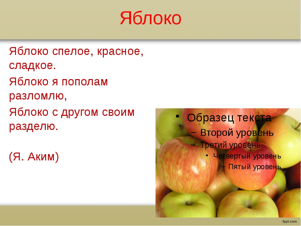 Яблоко Яблоко спелое, красное, сладкое. Яблоко я пополам разломлю, Яблоко с д...