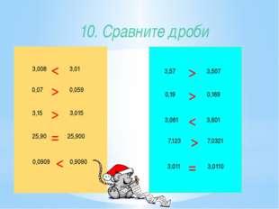 10. Сравните дроби 3,008 3,15 25,90 0,0909 0,9090 25,900 3,015 0,059 3,01 0,0