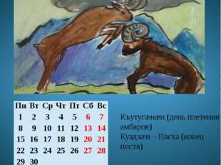 Апрель Хуымгæнæны мæй Къутугæнæн (день плетения амбаров) Куадзæн – Пасха (кон