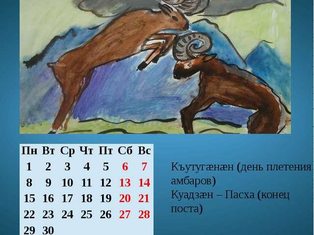 Апрель Хуымгæнæны мæй Къутугæнæн (день плетения амбаров) Куадзæн – Пасха (кон...