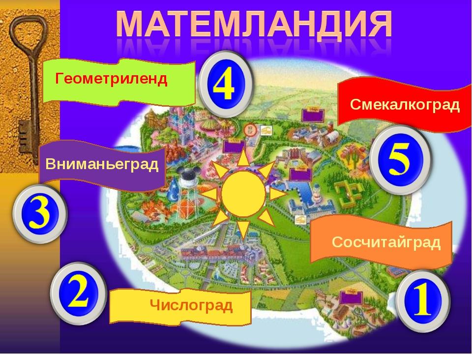 Сосчитайград Числоград Вниманьеград Смекалкоград Геометриленд