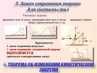 Типовые задачи Движение тела по клину, взаимодействие пули и клина, вращение