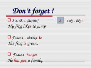 Don't forget ! 3 л. ед. ч. (he/she) My frog likes to jump Глагол – связка is