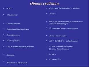 Общие сведения Ф.И.О. Образование Специальность Преподаваемый предмет Квалифи