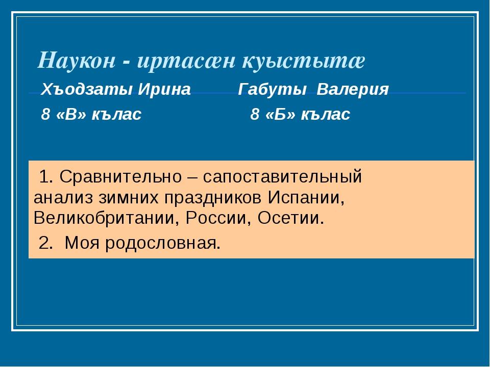 Наукон - иртасæн куыстытæ Хъодзаты Ирина Габуты Валерия 8 «В» кълас 8 «Б» къл...
