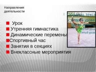 Направления деятельности Урок Утренняя гимнастика Динамические перемены Спорт