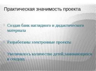 Практическая значимость проекта Создан банк наглядного и дидактического матер