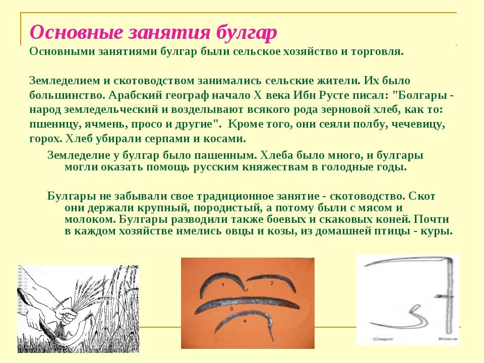 Основные занятия булгар Основными занятиями булгар были сельское хозяйство и...