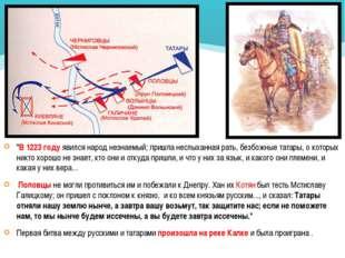 """""""В 1223 году явился народ незнаемый; пришла неслыханная рать, безбожные татар"""