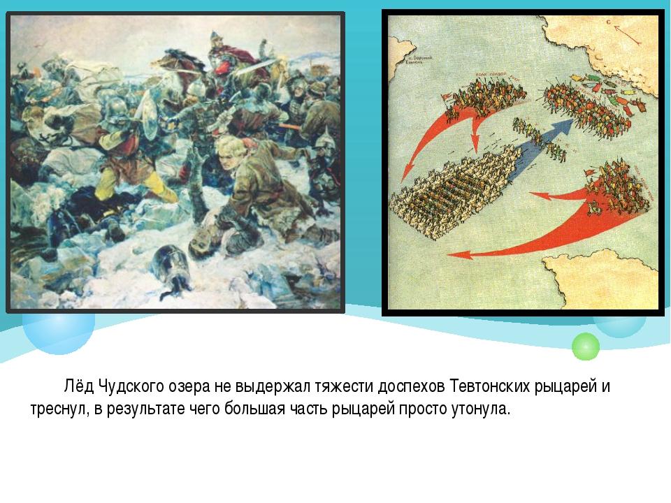 Лёд Чудского озера не выдержал тяжести доспехов Тевтонских рыцарей и треснул,...