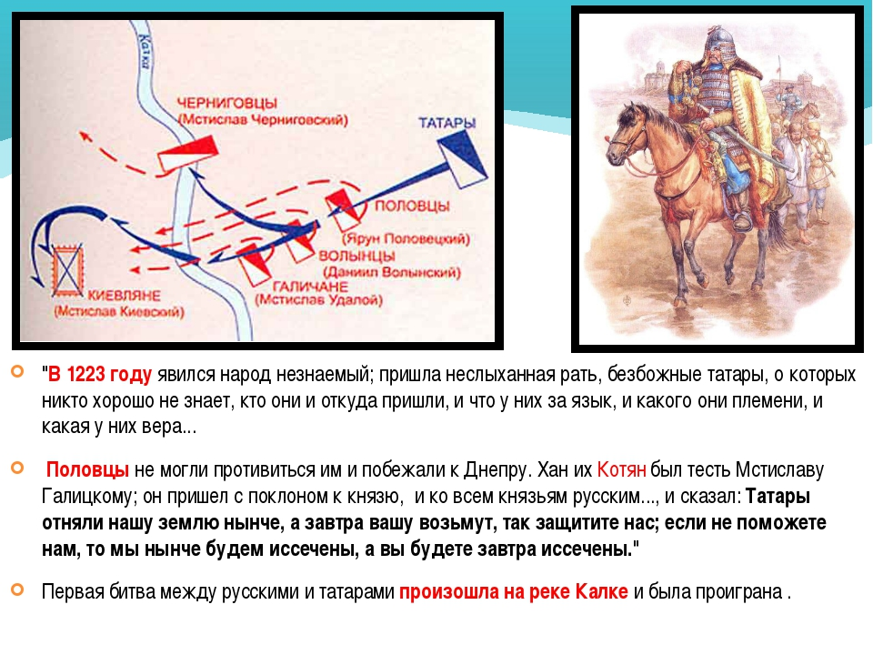 """""""В 1223 году явился народ незнаемый; пришла неслыханная рать, безбожные татар..."""