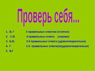 В, Г 5 правильных ответов (отлично) С,В 4 правильных ответа (хорошо) Б,В, 3-2