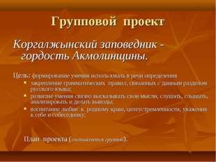 Групповой проект Коргалжынский заповедник - гордость Акмолинщины. Цель: форми