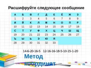 14-6-20-16-5 12-16-16-18-5-10-15-1-20 Метод координат Расшифруйте следующее с