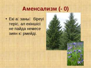 Аменсализм (- 0) Екі ағзаның біреуі теріс, ал екіншісі не пайда немесе зиян к