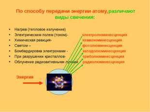 По способу передачи энергии атому,различают виды свечения: Нагрев (тепловое