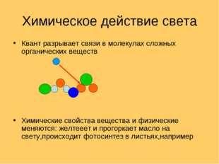 Химическое действие света Квант разрывает связи в молекулах сложных органичес