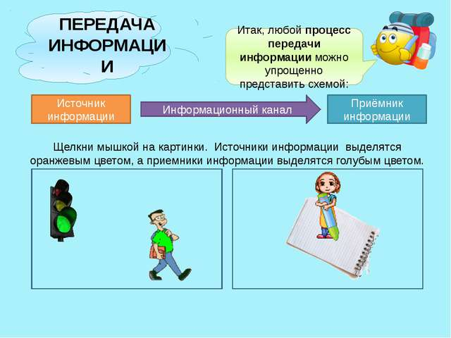 ПЕРЕДАЧА ИНФОРМАЦИИ Итак, любой процесс передачи информации можно упрощенно...