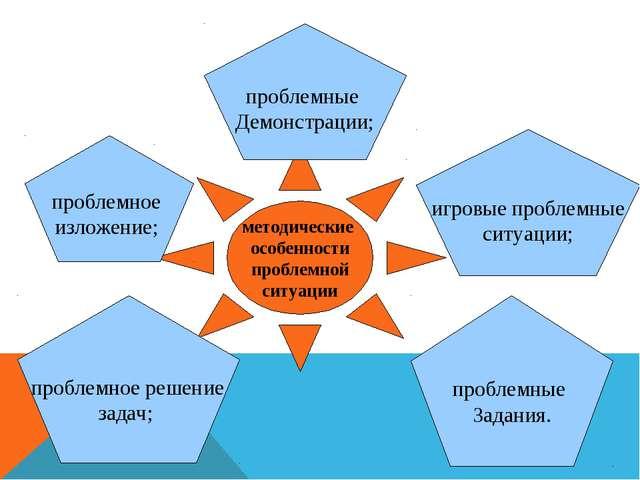методические особенности проблемной ситуации проблемное решение задач; пробле...