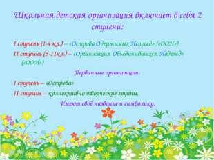 Школьная детская организация включает в себя 2 ступени: I ступень (1-4 кл.) –