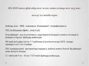 MS-DOS-тың файлдармен және каталогтармен жұмыс жасау командалары Файлды жою –