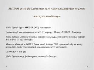 MS-DOS-тың файлдармен және каталогтармен жұмыс жасау командалары Жаңа бума құ