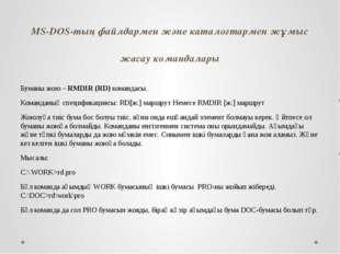 MS-DOS-тың файлдармен және каталогтармен жұмыс жасау командалары Буманы жою –