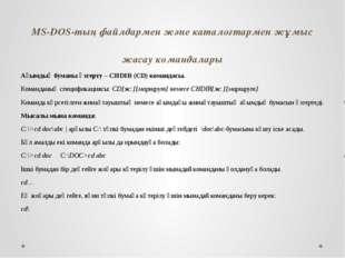 MS-DOS-тың файлдармен және каталогтармен жұмыс жасау командалары Ағымдық бума
