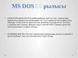 MS DOS құрылысы CONFIG.SYS файлы MS-DOS конфигурациясын анықтау үшін, сонымен