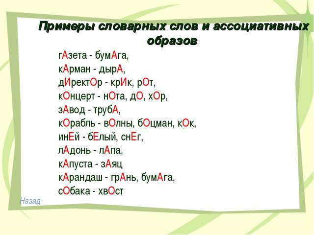 Примеры словарных слов и ассоциативных образов: гАзета - бумАга, кАрман - ды...