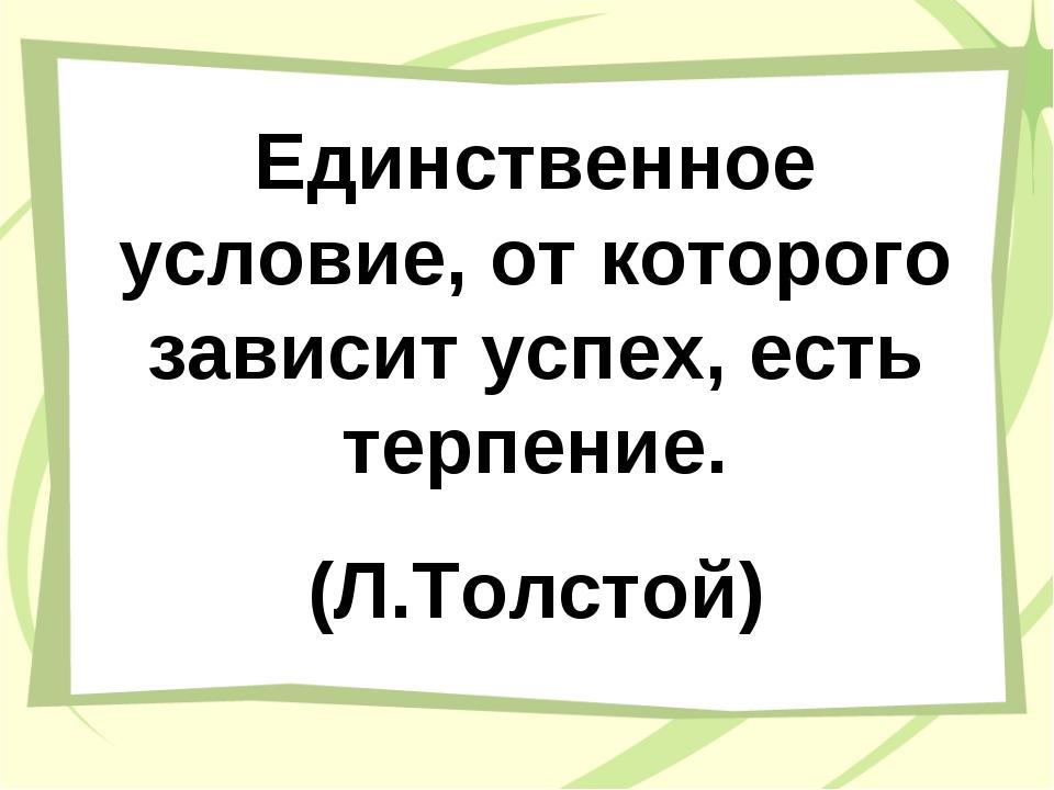 Единственное условие, от которого зависит успех, есть терпение. (Л.Толстой)