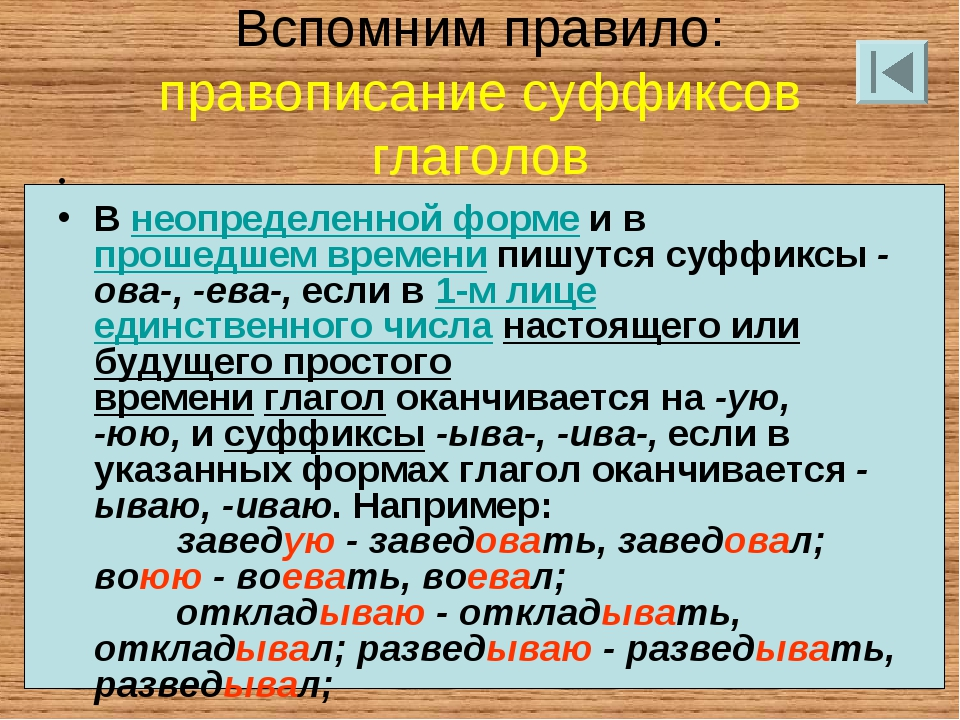 Вспомним правило: правописание суффиксов глаголов  Внеопределенной формеи...