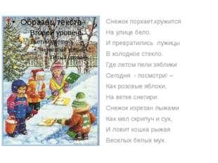 Снежок порхает,кружится На улице бело. И превратились лужицы В холодное стек