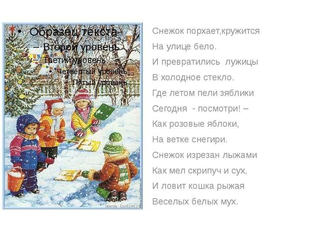 Снежок порхает,кружится На улице бело. И превратились лужицы В холодное стек...