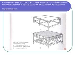 Настилочные столы могут быть со сплошным покрытием и с перфорированным покрыт