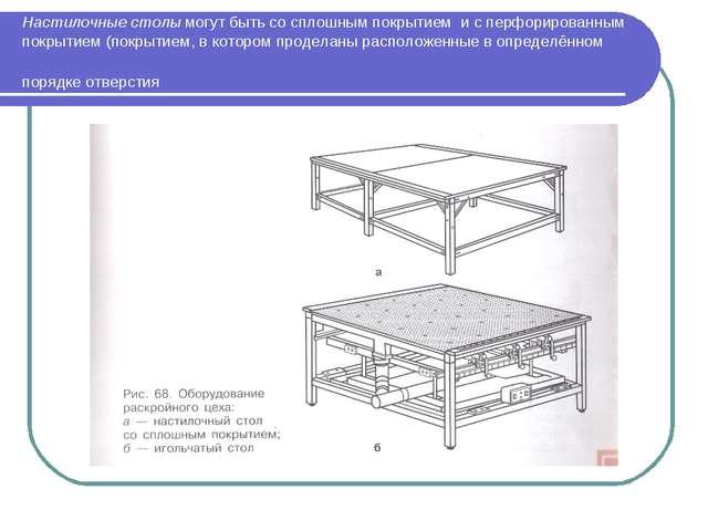 Настилочные столы могут быть со сплошным покрытием и с перфорированным покрыт...