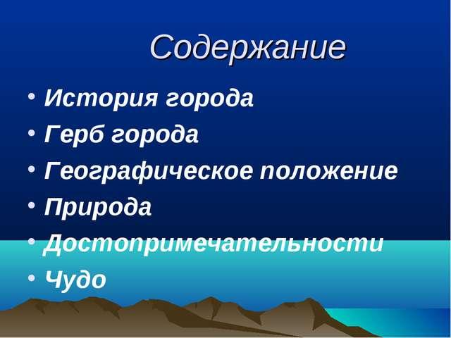 Содержание История города Герб города Географическое положение Природа Достоп...