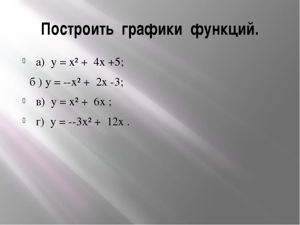 Построить графики функций. а) y = x² + 4x +5; б ) y = --x² + 2x -3; в) y = x²...
