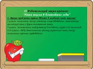 """5) Родительский заказ-прогноз: """"Наша школа в ближайшие годы"""" 1. Какие предмет"""