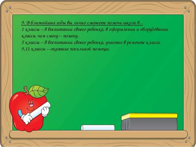 9. В ближайшие годы вы лично сможете помочь школе в... 1 классы – в воспитани...