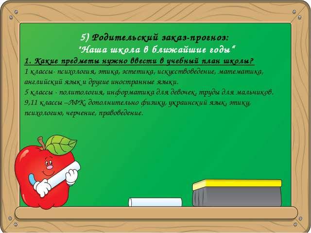 """5) Родительский заказ-прогноз: """"Наша школа в ближайшие годы"""" 1. Какие предмет..."""