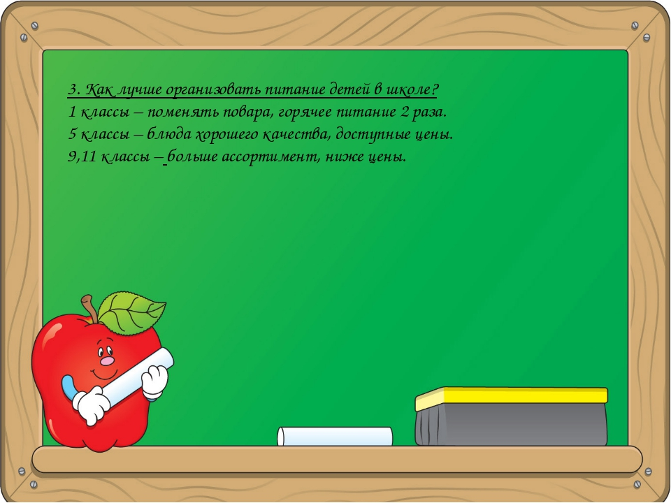 3. Как лучше организовать питание детей в школе? 1 классы – поменять повара,...