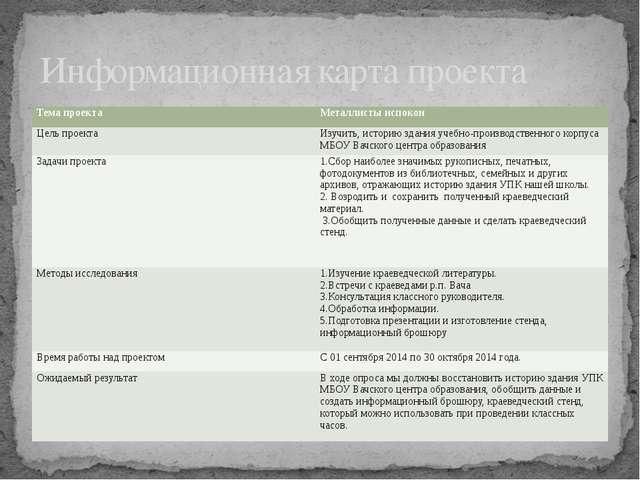 Информационная карта проекта Тема проекта Металлисты испокон Цель проекта Изу...
