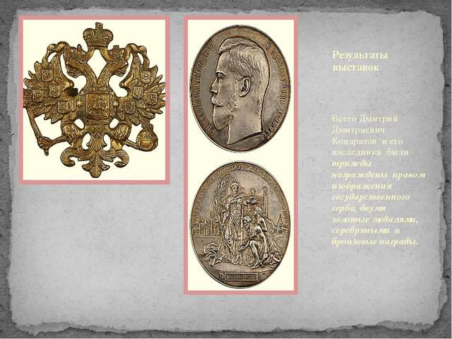 Результаты выставок Всего Дмитрий Дмитриевич Кондратов и его наследники были...