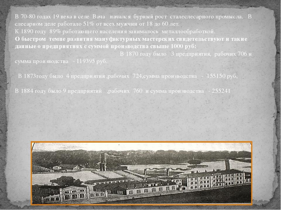 В 70-80 годах 19 века в селе Вача начался бурный рост сталеслесарного промысл...