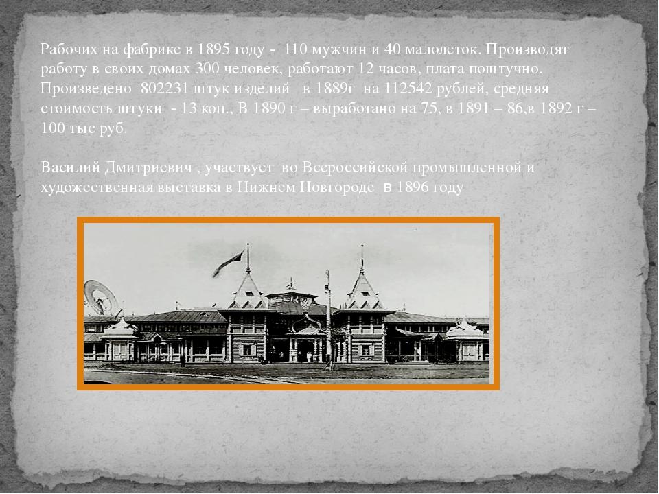 Рабочих на фабрике в 1895 году - 110 мужчин и 40 малолеток. Производят работу...
