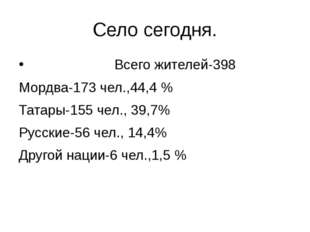 Село сегодня. Всего жителей-398 Мордва-173 чел.,44,4 % Татары-155 чел., 39,7%