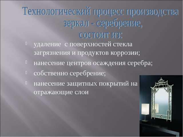 удаление с поверхностей стекла загрязнения и продуктов коррозии; нанесение це...