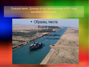Суэцкий канал. Доходы от его эксплуатации в 2011 году составили $5,22 млрд.